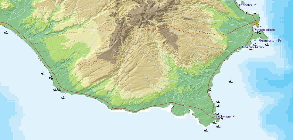 Shipwrecks at the southeastern extent of Sicily.