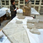 Dott.ssa Laura Ferrea and Richard Talbert with fragments of the Forma Urbis Romae